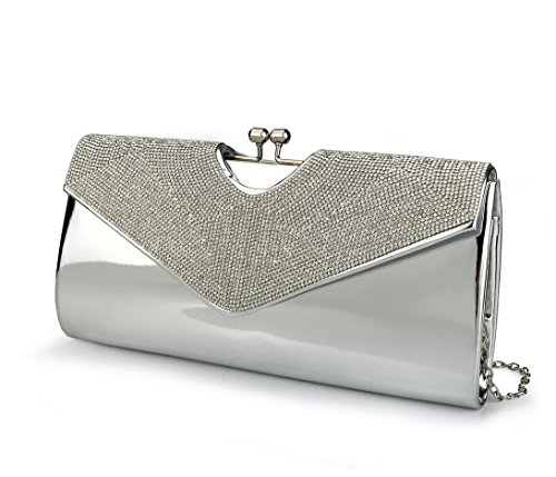 - Women's Evening Clutch Bag For Wedding Party Metallica Shining Rhinestone Envelope Purse with Chain Strap (Silver)