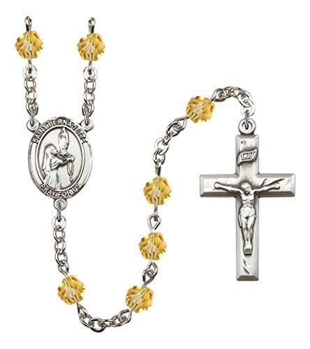 November Birth Month Prayer Bead Rosary with Saint Bernadette Centerpiece, 19 Inch