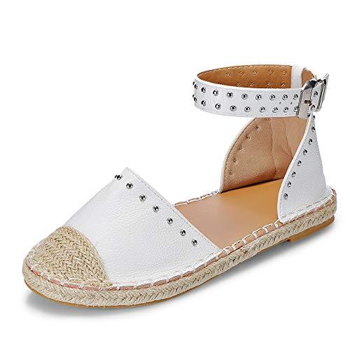 KCatsy Round Toe Rivet Grass Weaving Flat Shoes Fisherman Sandal for Women White