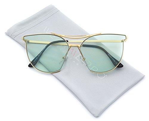 WearMe Pro - Trendy Color Tinted Cat Eye Fashion Sunglasses (Green Lens, - Light Sunglasses Green