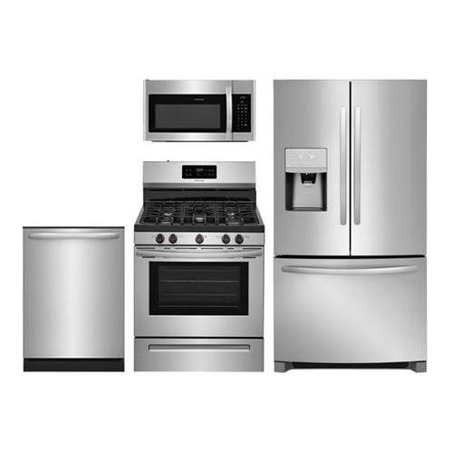 """4-Piece Stainless Steel Kitchen Package With FFHB2750TS 30"""""""" French Door Refrigerator FFGF3054TS 30"""""""" Gas Freestanding Range FFMV1645TS 30"""" Over-the-Range Microwave FFID2426TS 24"""" Built In Dishwasher"""