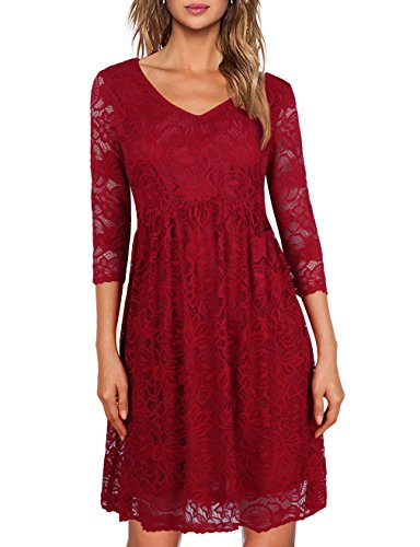 Informal Bridesmaid Dresses (MOOSUNGEEK Red Lace Dress,Bridesmaid 3 4 Sleeve Women Wedding Dress Prime Clothes Wine M)