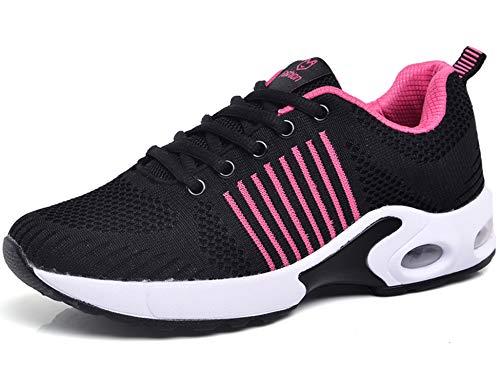 Senderismo Montaña Zapatos Running Transpirable 822 Libre Aire Casuales Asfalto Zapatillas para Deportes Rosa y de Negro Deportivas Correr y Malla GNEDIAE Mujer wp7ntt