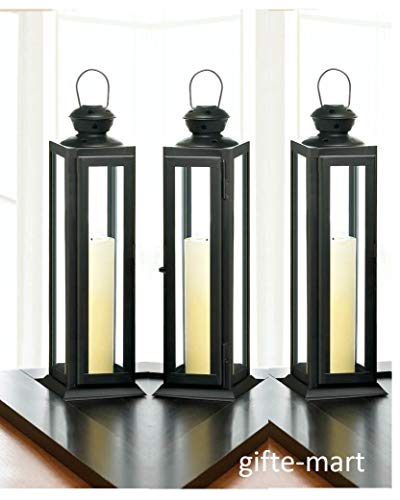 10 Black 12'' Skinny Country Western Candle Holder Lantern Wedding Centerpiece Decorative Centerpieces for Living Dinning Room Table Decoration, Wedding Gifts