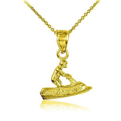 Gold Pendant Jet Ski - 10k Yellow Gold 3D Jet Ski Charm Pendant Necklace, 22
