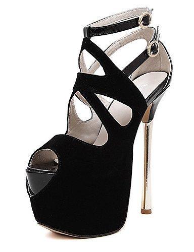 ShangYi Womens Shoes Fleece Stiletto Heel Peep Toe Sandals Party & Evening / Dress Black / Red Black