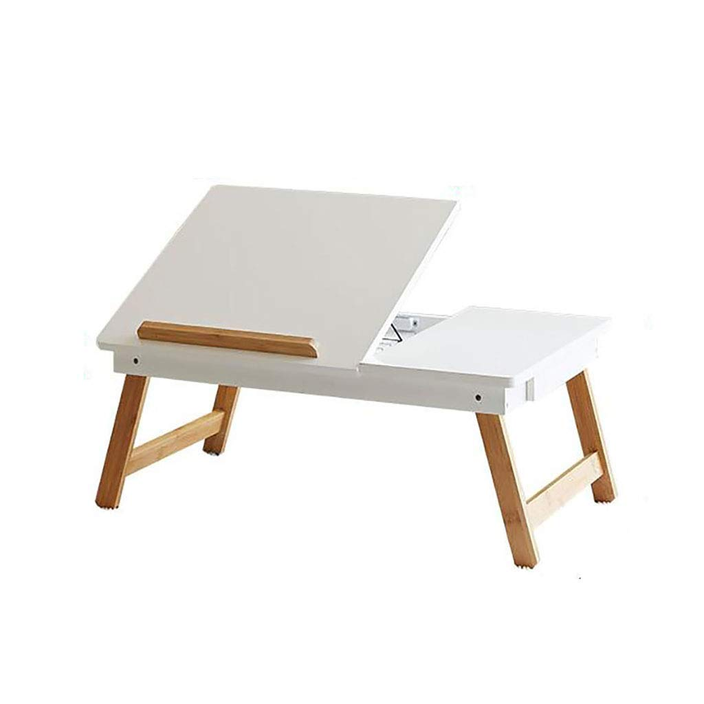 White Laptop Folding Table Lazy Table Bed Desk Simple Modern Dormitory Folding Table, Multi-color Optional (color   White)