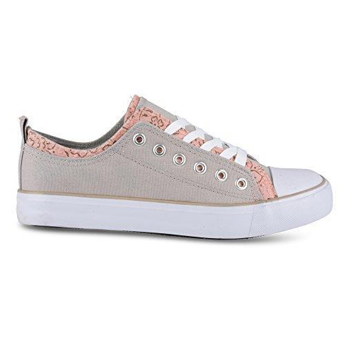 Sneaker Alta Moda Donna Kix Lo-top Double Twist Grigio Chiaro / Floreale