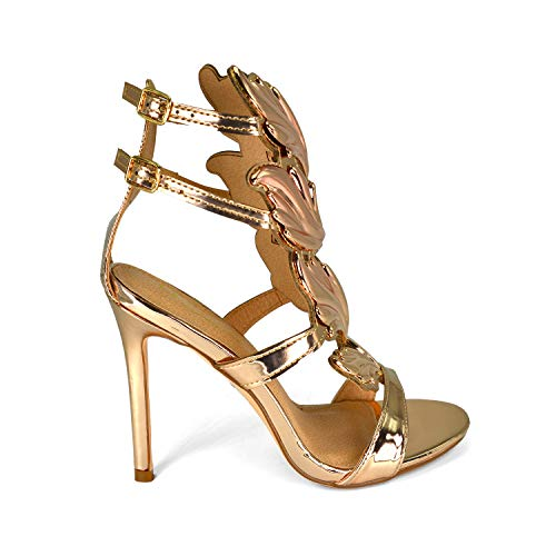 Olivia and Jaymes Fashionable Winged Open Toe High Heel Ankle Strap Wing Sandals for Women (9, Rose Gold)