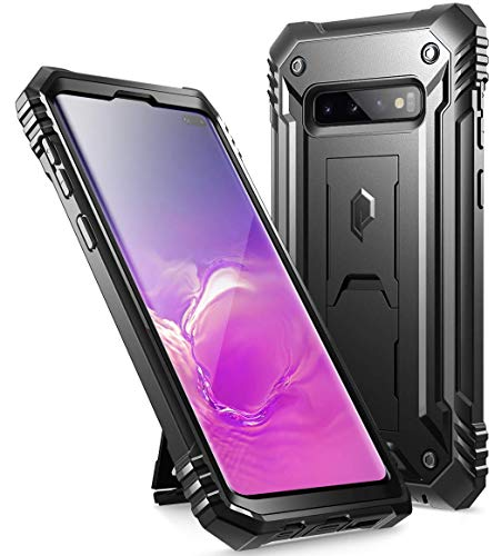 Galaxy S10 Plus Rugged Case with Kickstand, Poetic Heavy Duty Military Grade Full Body Cover, Without Built-in-Screen Protector, Revolution Series, for Samsung Galaxy S10+ Plus 6.4 Inch (2019), Black