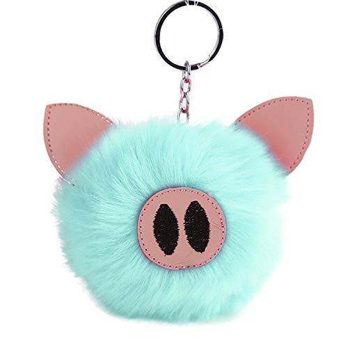 (wintefei Fluffy Handbag Pendant Women Embroidered Key Ring Lovely Piglets Keychain Gift - Light Green)