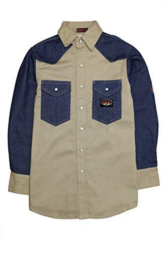 2 Tone Western Shirt (Men's Rasco 10-oz. Fire Retardant Two Tone Long Sleeve Western Shirt, KHAKI/DENIM, M)