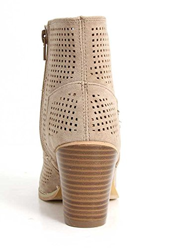 Albert Bootie Stacked Heeled Taupe Charles Peep Ankle Toe Perforated Women's ZFqRxT