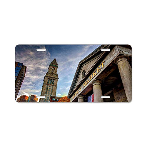 Bchengquch Quincy Market Boston Building skyston Car Accessories Metal License Plate Frame (New) 12