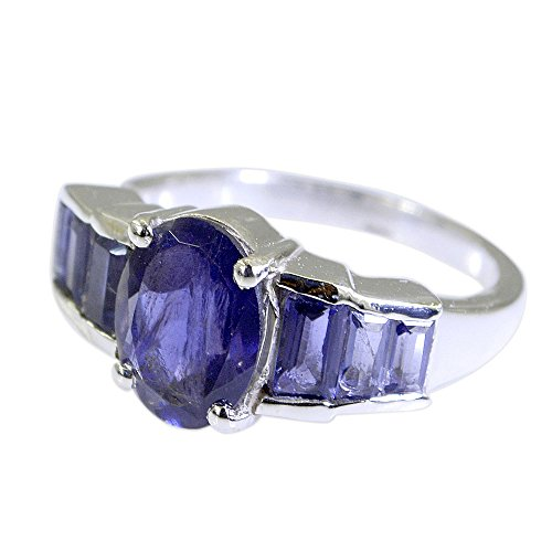 55Carat Natural Gemstone Mixed Shape Iolite Ring Silver For Men Women In Size US 5,6 ,7,8,9,10,11,12,13 (Gemstone Iolite Ring)