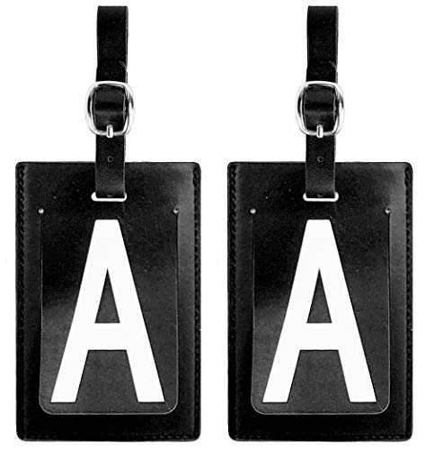 Personalized Leather Luggage Tags (Matching Set of 2): High-Contrast Debossed Initial A - Flexible Custom Travel Tags w/Extra Address Cards & Privacy Flap to Protect Personal Information (2-pack, A) (Initial Tag)