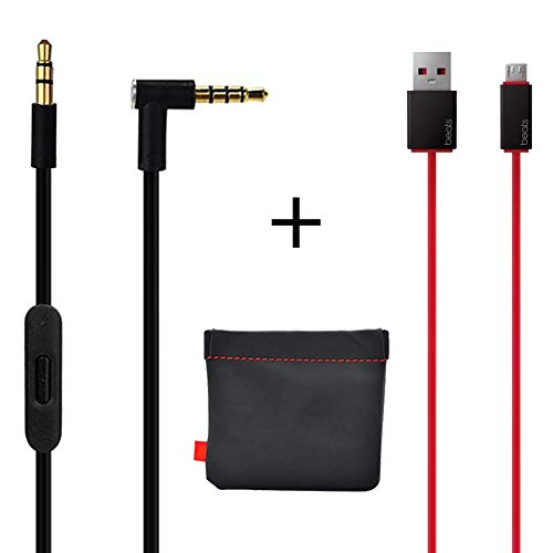 Original OEM Replacement AUX Audio Cable Cord For Beats By Dre Headphones Solo/Studio/Pro/Detox/Wireless/Mixr Black(Discontinued by Manufacturer)+Replacement Charger cable for Beats by Dr Dre and Pill (Original Beats Charger)