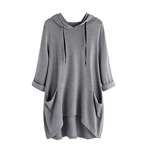 KFSO Women's Pullover Hooded Sweatshirt Long Sleeve T Shirt Thin Tunic Top with Pockets (Gray, L) ()
