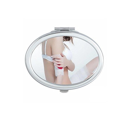Japan and South Korea White Thong Lace Nude Back Girl Gal Lady Oval Compact Makeup Pocket Mirror Portable Cute Small Hand Mirrors - Mirror Babes Nude