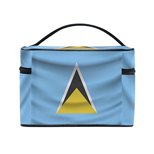 Saint Lucia Flag Portable Travel Makeup Cosmetic Bags Toiletry Organizer Multifunction Case by CoolPrintAll