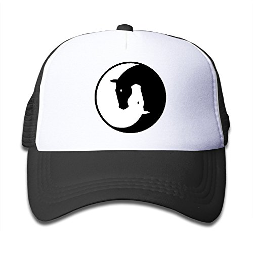 Yin Yang Horses Mesh Hat Trucker Style Outdoor Sports Baseball Cap With Adjustable Snapback Strap For Kid's Black One Size