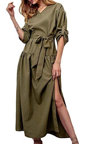 Jaycargogo Womens Casual Roll-up Manches Longues Fendu Ceinture Robe Maxi Partie Swing V-cou Vert