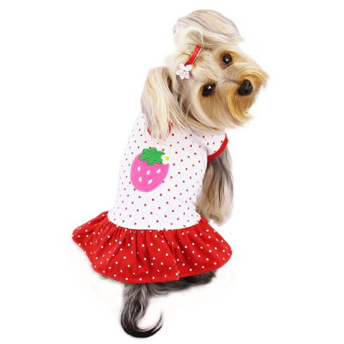Adorable and Lightweight Dog Dress with Polka Dots and a Strawberry Patch Sizes: Large