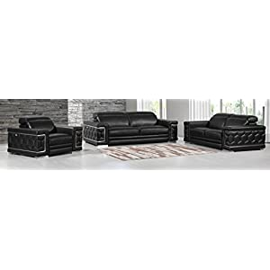 Blackjack Furniture The Usry Collection 3-Piece Genuine Italian Leather Living Room Sofa Set, Black