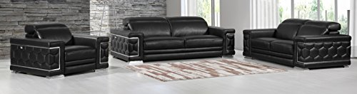 Italian Design Leather Sofa Loveseat - Blackjack Furniture The Usry Collection 3-Piece Genuine Italian Leather Living Room Sofa Set, Black