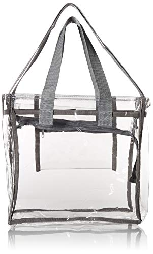 Largest Stadium Security Approved Clear Bag with Handles / Adjustable Strap / 12x12x6 / Transparent Gameday Tote for Men and Women (Gray)