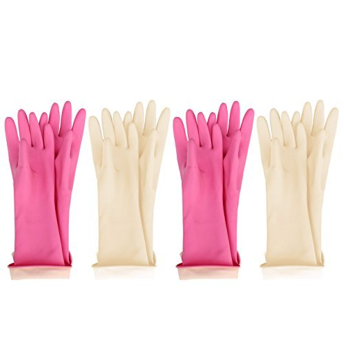 (MJ 4 Pairs Kids Waterproof Household Natural Rubber Latex Cleaning Wash Gloves)