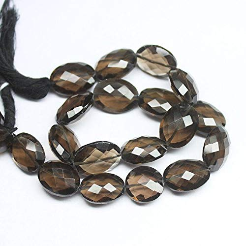 Beads Bazar Natural Beautiful jewellery Natural Smoky Quartz Faceted Oval Gemstone Loose Spacer Craft Beads Strand 10