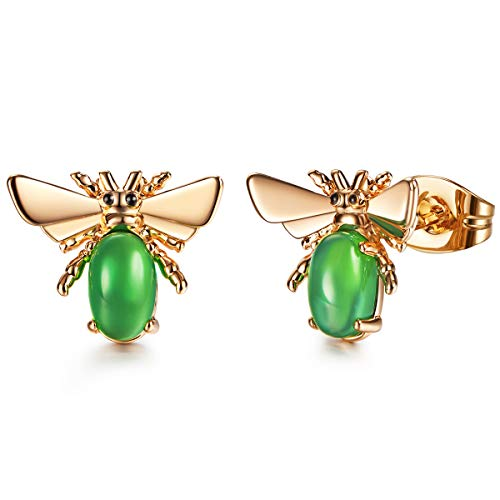 Stone Earrings Agate (925 Silver Agate Stud Earrings Green Gemstone Birthstone Stud Earrings for Women)