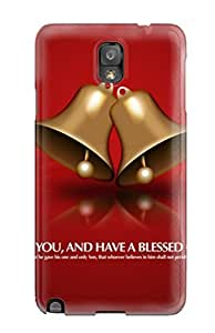 Fashionable Style Case Cover Skin For Galaxy Note 3- Gold Bells Blessing Beautiful Golden Red Background Xmas Santa Claus Holiday Christmas