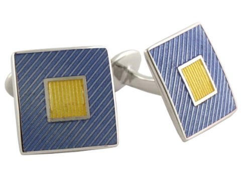 David Donahue Sterling Silver Squares Cufflinks - Yellow / Light Blue (Sterling Silver Two Tone Cufflinks)