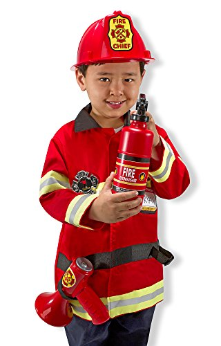 Melissa & Doug Fire Chief Role Play Costume Dress-Up Set (6 pcs) (Child Fireman Costume)