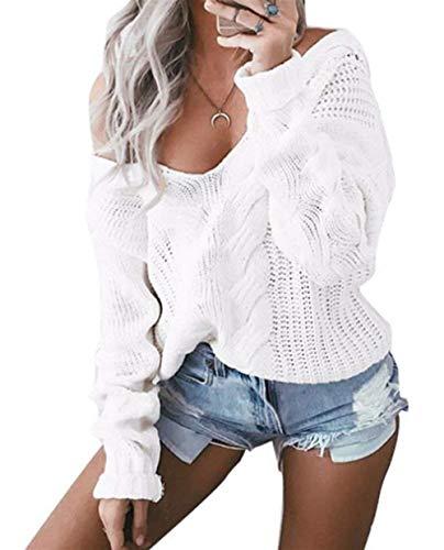 Pullover Prodotto Camicetta Tempo Monocromo Maglia Women Plus Vintage A Maglia Libero Pullover Eleganti V Giovane Pullover Ruvida Bianca Maglia Maglioni Donna Maglieria Maniche Invernali Neck Moda Lunghe 6SOznUxqgw