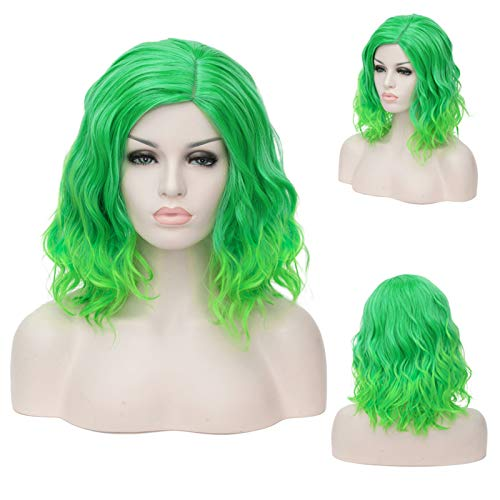 Topwigy Lime Green Cosplay Women Wig Medium Length Short Bob Curly Wave Colorful Synthetic Hair Replacement Bob Wigs Costume Party Anime Wig (Light Green 14