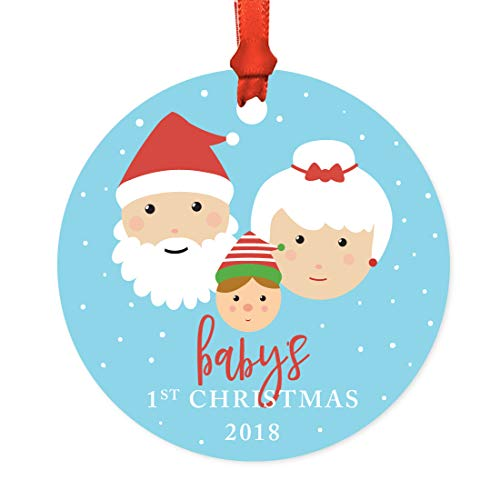 Andaz Press Family Metal Christmas Ornament, Baby's 1st Christmas 2018, Santa and Mrs. Claus with Elf, 1-Pack, Includes Ribbon and Gift Bag -  APP12154