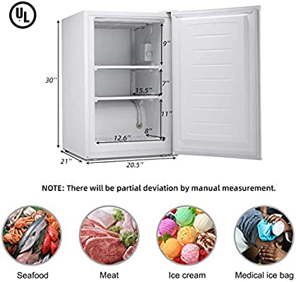 5.0 Cubic Feet Chest Freezer with Removable Basket 4℉ Free Standing Compact Fridge Freezer for Home//Kitchen//Office//Bar BLACK from 6.8℉ to