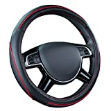 CAR PASS Color Piping Leather Universal Fit Steering Wheel Cover,Perfectly fit for Suvs,Vans,Trucks,Sedans,Cars (Black and Red)