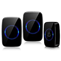Wireless Doorbell, Ring Door Bell Chime Kit, Waterproof 2 Plug in Receiver and 1 Battery Operated Push Buttons Transmitter 1000 Feet Operating Range, 5 Levels Volume with Silence LED Flash Mode, 60 Melodies to Choose, Black