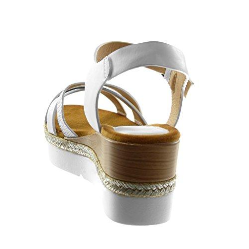Angkorly Zapatillas Moda Sandalias Mules Correa de Tobillo Plataforma Suela de Zapatillas Mujer Multi-Correa Strass Trenzado Plataforma 6.5 cm Blanco
