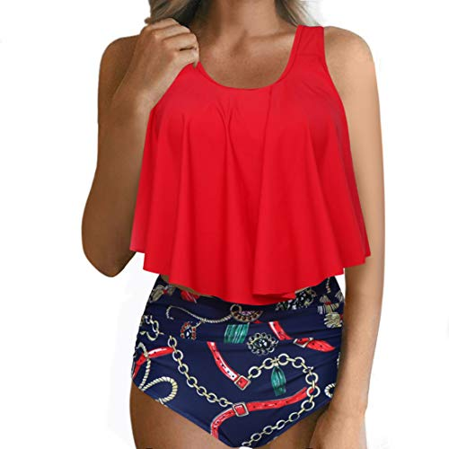 RXRXCOCO Women High Waisted Bikini Swimsuit Two Piece Bathing Suit Top with Swim Bottom (M(US Size 4-6), Red Chain Print-Scoop Neck)