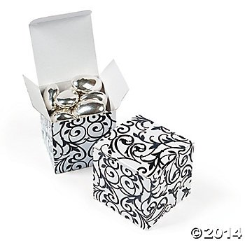 Twenty-four Paper Black & White Gift Boxes/WEDDING FAVORS/Engagement party favors/Anniversary party favors
