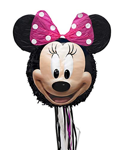 Disney Minnie Mouse 3D Pull-String Pinata, As Shown, One Size -