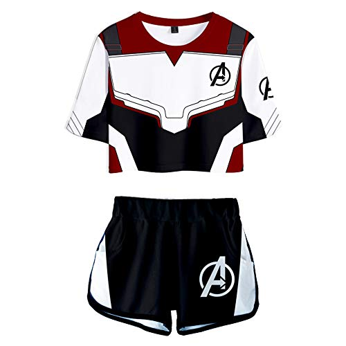 2 Piece Avenger's Endgame Outfits for Women Crop Top and Short Pants Sets (Black, 2X-Large)]()