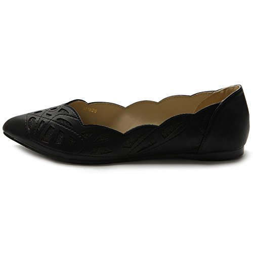 Ballet Cutout Toe Patterned Ollio Pointed Flat Womens Glitter Shoe Black qtXx1w0H