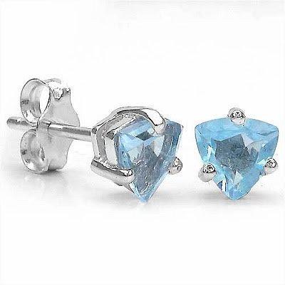 Bijoux Schmidt-Studs topaze bleue / topaze bleue en argent 925 - plaqué rhodium dans 0,50 carats