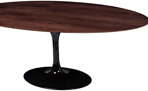 Saarinen Style Tulip Walnut Oval Dining Table Black Base 77
